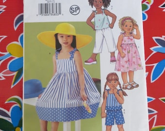 Butterick 3477 Girls Sundress, Top, Shorts and Pants Pattern, Choose from 2 Sizes