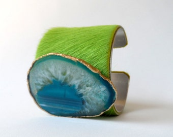 "leather cuff bracelet  -lime green hair on hide with turquoise agate  - 2"" wide"