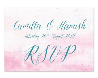 x 30 watercolour ombre Marie Antoinette wedding reply slip RSVP