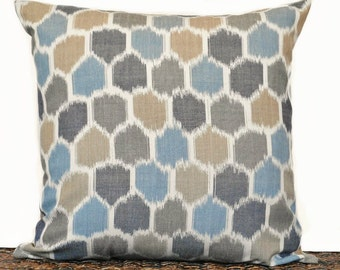 Ikat Pillow Cover Cushion Teal Taupe Tan Denim Blue Beige Mosaic Rustic Decorative Repurposed 18x18