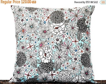 Christmas in July Sale Retro Floral Pillow Cover Cushion Mod Turquoise Black White Pink Orange Blue Repurposed Decorative 16x16