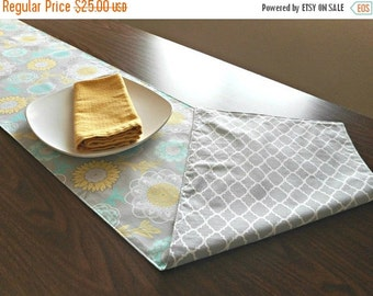 Christmas in July Sale Gray Floral Table Runner Retro Quatrefoil Moroccan Turquoise Yellow White Reversible Hostess Gift