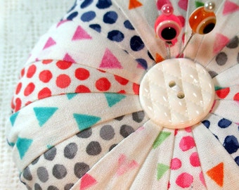 Pincushion, Geometrics Round Patchwork  - New- Ready to Ship