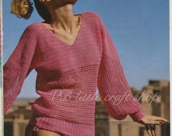 Ladies sweater crochet pattern. Instant PDF download!