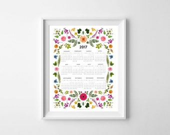 2017 Floral Calendar. 12 month calendar. Watercolor Wall calendar. 1 Page.  8.5 x 11 letter size. New Year. Gift