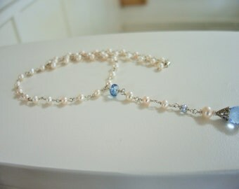 Long pearl and blue topaz necklace, artisan quality, fine jewelry, unique, white pearls
