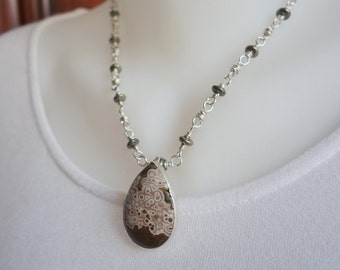 Necklace, ocean jasper & sterling silver pendant, free form chain, statement jewelry, artisan quality, unique design