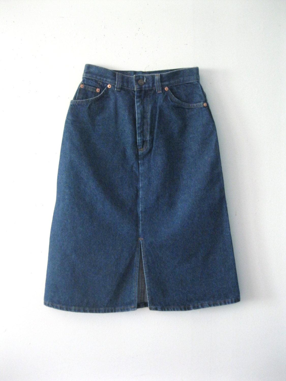 Vintage 80s Levi's denim skirt / orange tab Levis straight line ...