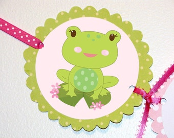 Frog Happy Birthday Banner, Girl Frog Birthday, Pink and Green, Frog Party Banner, Frog Party Supplies