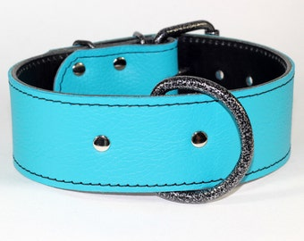"Turquoise Leather Dog Collar, Leather Collar, Turquoise Dog Collar, 2"" Large Dog Collar, (Made In Ca)"