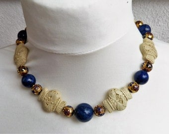 Vintage Chinese White Cinnabar and old Chinese  Cloisonne beads and Lapis Beads Necklace