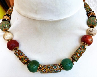 Antique Venetian Millefiori Necklace with shell and apple coral