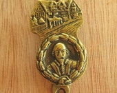 Shakespeare Vintage Brass Door Knocker - William Shakespeare Brass Ornament - Old Door Knocker - Small Brass Door Ornament - Metal Hardware