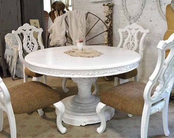 Dining Table Painted Cottage Chic Shabby White French Round / Oval Dining Table