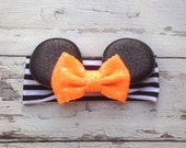 Halloween black and orange Minnie Mouse ears headband with sequin Bow Baby Soft Cotton headband wrap headband holiday headband Disney headba