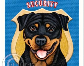 8x10 Rottweiler Art - Rottweiler Security - Art print by Krista Brooks