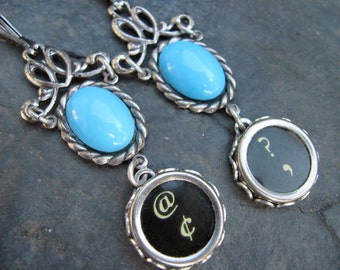 Typewriter Key Jewelry - Light  Blue Dangle Earrings E91