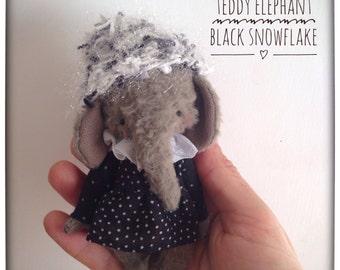 4 inch Artist Handmade Christmas Teddy Elephant Black Snowflake by Sasha Pokrass