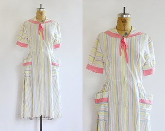 NEW - vintage 1950s dress - cotton day dress - candy colored stripes - sailor house dress