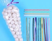 Favor Bag Kit: Cellophane Cone Bags & Twist Ties, Cone Sweet Bags, Cotton Candy Bags, Hot Cocoa Cones, Candy Bags, Candy Buffet Bags (30)