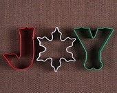 Christmas Cookie Cutter Set: Joy Cookie Cutters, Wilton Cookie Cutters, Sugar Cookie Cutters, Snowflake Cookie Cutter, Letter Cookie Cutters