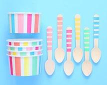 Pastel Rainbow Stripe Ice Cream Cups & Wooden Spoon Set, Pastel Ice Cream Cups, Ice Cream Cups, Ice Cream Social,Ice Cream Spoon (set of 12)