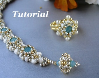 Tutorial for Carolyn Beadwoven Bracelet and Ring with Chaton Stones