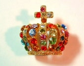 1980s Vintage Pin VINTAGE COUTURE Crown Rhinestone Pin