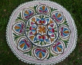 Three Felt Rugs Kashmir. Embroidered Round 3 ft diameter Wool Namda Kilim/Rug/Mat.  98 cm