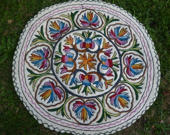 Three Felt Rugs Kashmir. Embroidered Round 3 ft diameter Wool Namda Kilim/Rug/Mat.  98 cm