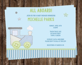 Baby Shower Invitations, Boy, Train, Carter Baby Shower, Railroad, Choo Choo, All Aboard, Blue, Green, 10 Printed Invites, FREE Shipping