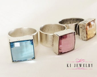 Square Ring Swarovski Crystal, Adjustable, Fit Most Sizes.