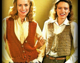 Crochet Bolero and Button Vest With Tie PATTERN, Size 10 - 18, PDF Pattern 12247973, Instant Download