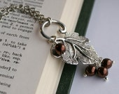 Silver Ginkgo Leaf and Brown Pearl Necklace with Matching Sterling Silver Pearl Earrings
