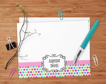 Candy Dots - Set of 8 CUSTOM Personalized Flat Note Cards/ Stationery