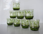 Vintage Libbey Olive Strawflower Beverage Glasses, Set of Eight
