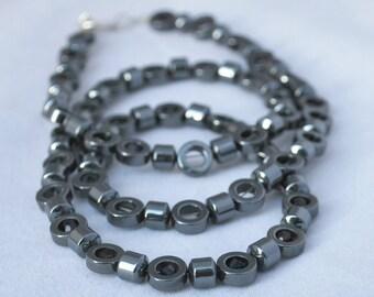 Silver Gray Hematite Circle Neckace