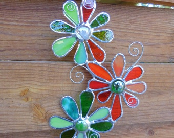Stained Glass Flower Trio - Handmade-Suncatcher-Window Decor-Unique Gift-Gift for Her-Birthday-Anniversary-Decor