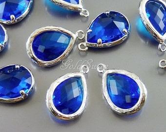 2 capri blue faceted long teardrop shape bezeled glass stone pendants 5060R-CB