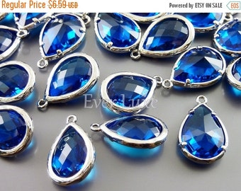 15% OFF 2 Unique capri blue faceted glass pendants / long tear drop glass beads for jewelry making 5060R-CB (bright silver, capri blue, 2 pi