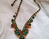 Juliana Oval Engraved Flower Necklace Emerald Green Rhinestones