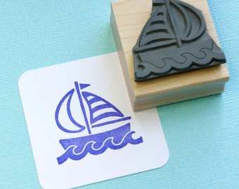 Sail Boat Rubber Stamp - Nautical Wedding - Gift for Sailor - Sea Lover - Nautical Rubber Stamp - Nautical Gift - Ship - Yacht - Pirate Gift