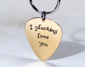 Bronze guitar pick keychain with I plucking love you - KC458
