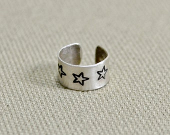 Sterling silver ear cuff Handstamped with Stars - Soild 925 EC102