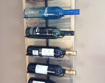 Wine rack for 6 bottles in reclaimed natural blue stained pine