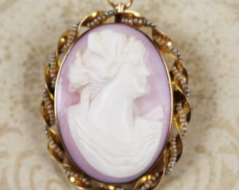 Vintage 10K Gold Pink and White Pearl Framed Cameo Brooch and Pendant