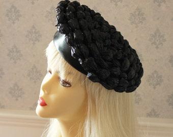Vintage 1960s Emme Shiny Black Raffia and Rubber Hat