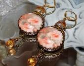 Peach roses art print image bead earrings Pamelia Designs Sacred Jewelry