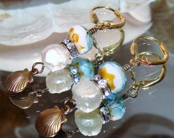 Shell charm fresh water pearl and aqua Picasso beach earrings Pamelia Designs Sacred Jewelry