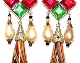 Beautiful Art Deco Art Nouveau Czech Art Glass Glass Pearl Vintage Long Earrings Czech Art Deco Jewelry